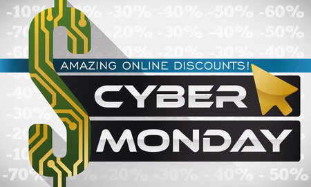 adverts: Banner for Cyber Monday with a money sign with circuit design and a dark electronic screens announcing discounts in sales online for this special date. Illustration
