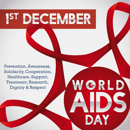 deficiency: Poster with linked ribbons for World AIDS Day commemorating the worldwide union and struggle against this disease.