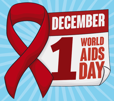 deficiency: Poster with calendar and reminder date of World AIDS Day decorated with a red ribbon.
