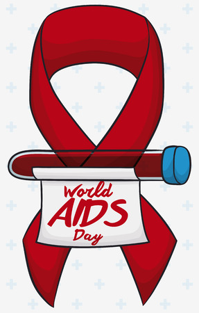 Poster with blood sample ready to be analyzed in commemoration of World AIDS Day, decorated with a red ribbon.