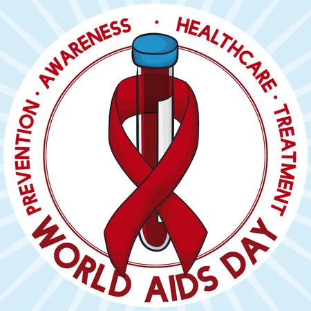 세계 에이즈의 날을 기념하는 빨간 리본이 달린 HIV 바이러스 탐지에서의 예방 분석의 중요성을 보여주는 혈액 샘플 포스터.