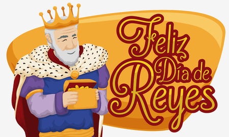 melchor: Banner with Melchior Magi holding a gold gift for Baby Jesus celebrating Epiphany or Three Kings Day