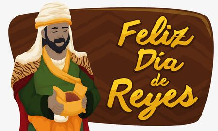 Banner with Balthazar Magi holding a myrrh gift for newborn Jesus with a sign for Spanish celebration Illustration