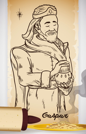 caspar: Poster with hand drawn illustration of Wise Man Caspar (or Gaspar in Spanish) in a scroll and incense present for Baby Jesus in Epiphany celebration.