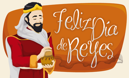 festivity: Banner with smiling Caspar Magi holding a incense gift for Baby Jesus to celebrate Spanish tradition of Illustration