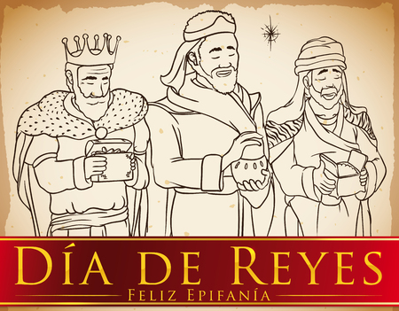 Scroll with the Three Wise Men (or Magi) and the Star in hand drawn style holding their presents for Baby Jesus with ribbon and Spanish text celebrating Illustration