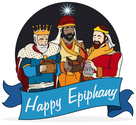 caspar: Cartoon poster with the Three Magi and the Bethlehems Star in the night sky holding their gifts for Baby Jesus, behind a blue ribbon with greeting message for Epiphany celebration.