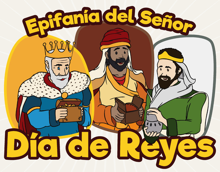 melchor: Poster with happy Three Wise Men (or Magi) ready to deliver their gifts to Baby Jesus in Spanish holiday of Illustration