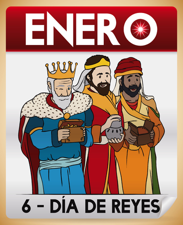 Poster with the Three Wise Men or Magi in cartoon style over a loose-leaf calendar as reminder for Spanish celebration of