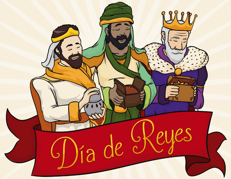 balthazar: Poster in cartoon style with Three Wise Men holding gifts for Spanish celebration of Illustration