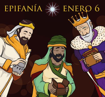 Epiphany의 밤에 아기 예수에게 선물을 전달하는 성서의 현자와 포스터 (스페인어 번역 : 일러스트
