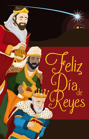 balthazar: Poster with the three wise men staring at the Bethlehems Star above in the night sky at the Baby Jesus birth place for Spanish Illustration
