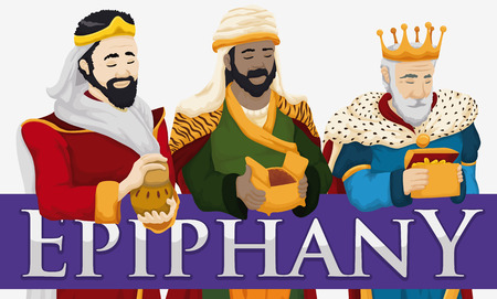 melchor: Banner with the traditional Three Magi Caspar, Balthazar and Melchior characters holding gifts for Epiphany celebration.