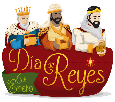 Affiche colorée avec les Trois Sages, tenant leurs cadeaux sur un panneau avec un message d'accueil en espagnol pour Vecteurs