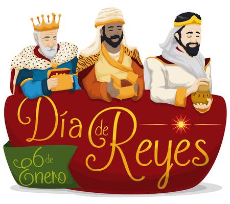 Cartel colorido con los tres hombres sabios que sostienen sus regalos sobre una muestra con el mensaje del saludo en español para Ilustración de vector