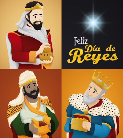 Poster with the Biblical Magi portraits holding their gifts in Epiphany celebration (or