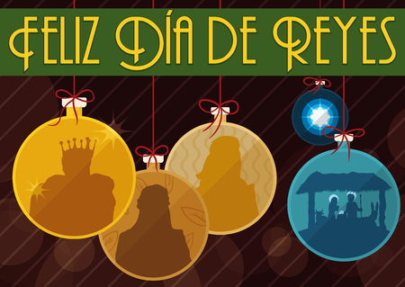 melchor: Poster in flat style with Three Magi, manger with the Holy Family and Bethlehems Star design like Christmas trees balls and greeting ribbon in Spanish for Illustration