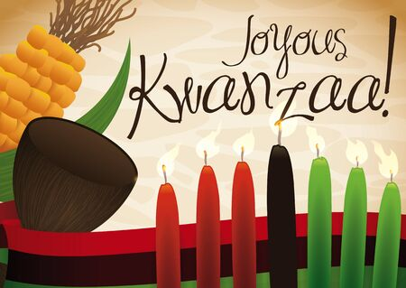Poster with traditional lighted candles, flag, wooden cup and corn to celebrate Kwanzaa in December.