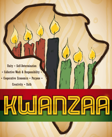 Poster with Africa map silhouette and candles inside of it in hand drawn style with the seven principles of African Heritage for Kwanzaa celebration.