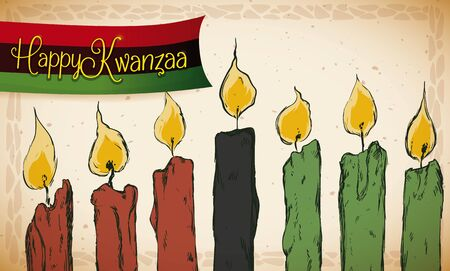 kwanzaa: Old style banner with lighted candles in hand drawn style and a little ribbon with traditional colors to celebrate Kwanzaa.