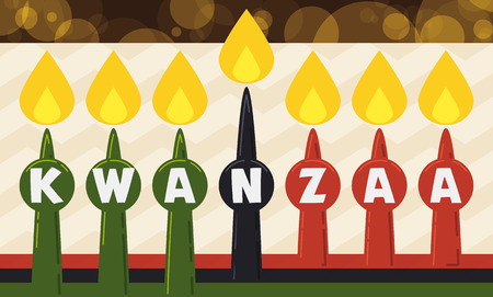 kwanzaa: Flat styled banner with lighted candles in traditional colors and marked letters on it that spell the word Kwanzaa. Illustration