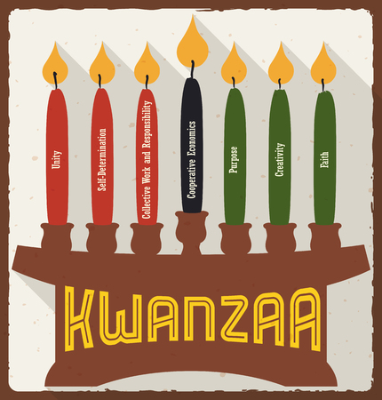 kwanzaa: Poster with lighted and marked candles places on a kinara with each principle for kwanzaa celebration in flat style and long shadow. Illustration