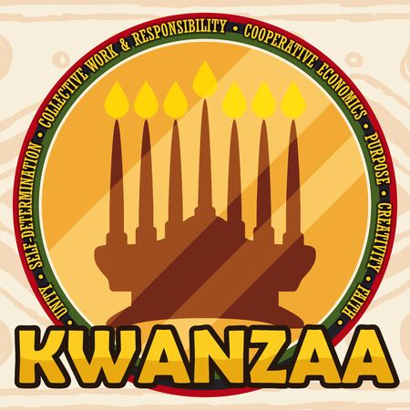 Flat design with golden round button with kinara and the Seven Principles (Nguzo Saba) of Kwanzaa celebration around it with tribal background.
