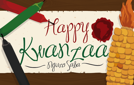 Banner with traditional corn and candles for Kwanzaa celebration and scroll with greeting sign and stam with African silhouette over a wooden table. Ilustração