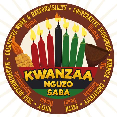 Poster with round label with the Seven Principles of African Heritage (or Nguzo Saba) and traditional candles, corn, cup and flag of Kwanzaa celebration.