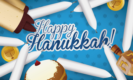 Banner with traditional Hanukkah elements: candles, scroll, sufganiyot, dreidel and gelts scattered all over a greeting message and starry background. Illustration