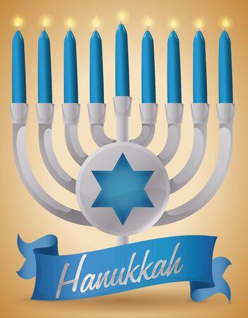 estrella de david: Cartel con un chanukiah de plata con el botón redondeado con la silueta del hexagram detrás de las velas y de una cinta azules que celebran Jánuca. Vectores