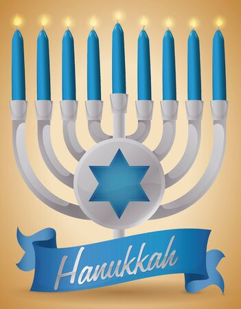 candelabrum: Poster with a silver chanukiah with rounded button with hexagram silhouette behind a blue candles and ribbon celebrating Hanukkah.