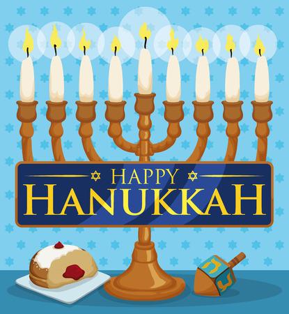 gelt: Commemorative elements to celebrate Hanukkah: Chanukiah with white candles, golden gelt coin, dreidel, sufganiyot and latke behind a blue ribbon.
