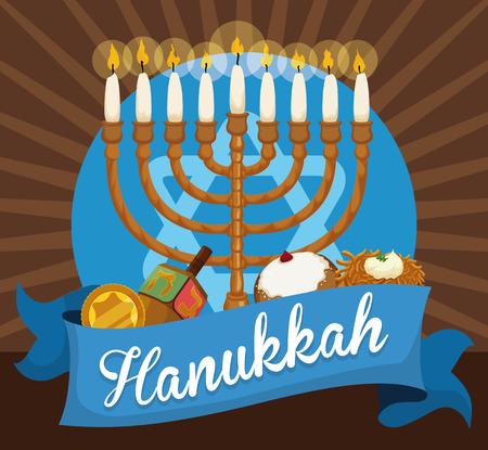 Commemorative elements to celebrate Hanukkah: Chanukiah with white candles, golden gelt coin, dreidel, sufganiyot and latke behind a blue ribbon.