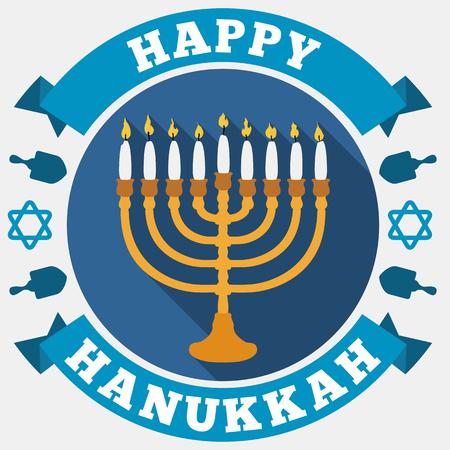 estrella de david: Cartel en estilo plano y sombra larga para Hanukkah con un chanukah con velas blancas, cintas de saludo alrededor, las estrellas de David y siluetas dreidels. Vectores