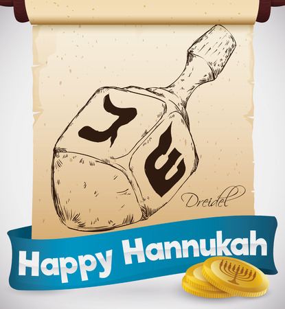 gelt: Poster with realistic hand drawn dreidel in a scroll with some gelt coins and a blue ribbon commemorating this game in Hanukkah celebration. Illustration