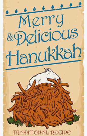 judah: Scroll with traditional and delicious latke dish in hand drawn style celebrating Hanukkah and Hebrew cuisine. Illustration