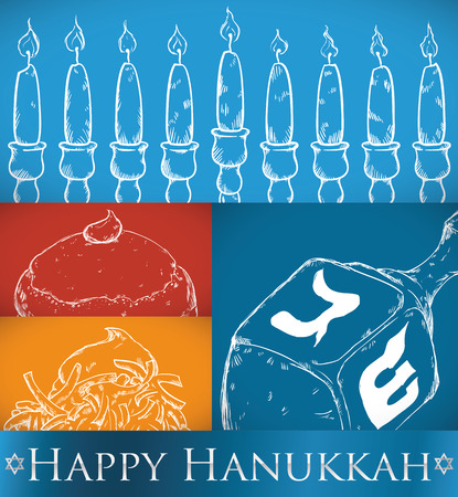 judah: Poster with representative elements and some delicious dishes for Hanukkah: Chanukiah candles, dreidel (spinning top), sufganiyah (a type of doughnut) and latke (fried potato pancake).