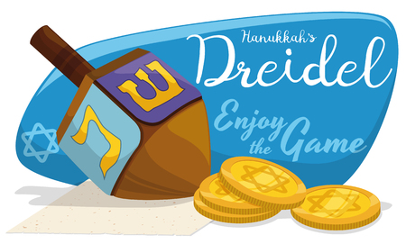 gelt: Banner with dreidel toy and some gelt coins ready to play traditional Hanukkah games. Illustration
