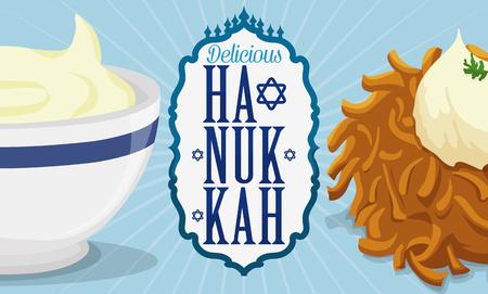 estrella de david: Banner con delicioso latke y salsa de queso listo para ser servido en Hanukkah con una etiqueta de saludo.