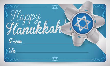 estrella de david: Plantilla de la tarjeta de regalo de belleza para los días festivos de Hanukkah decorado con una estrella de David de plata dentro de un arco y una cinta de regalo.