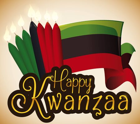Poster with traditional flag and seven lighted candles with golden letters to celebrate Kwanzaa.
