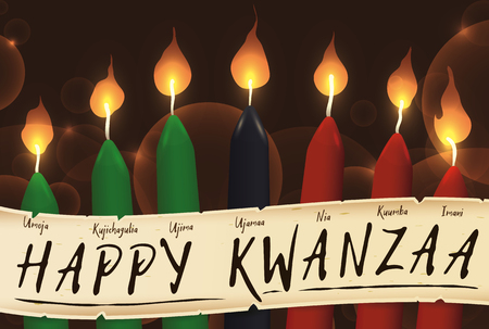 Banner for Kwanzaa with traditional colored candles representing the Seven Principles (or Nguzo Saba) over a ancient scroll.
