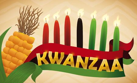 kwanzaa: Banner with traditional elements to celebrate Kwanzaa: candles, corn and flag of this holiday. Illustration