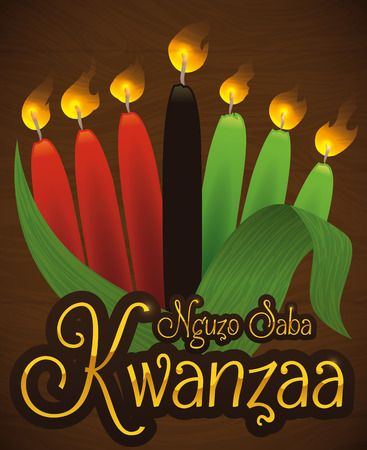 kwanzaa: Poster with traditional Kwanzaa candles inside a corn husk and golden sign.