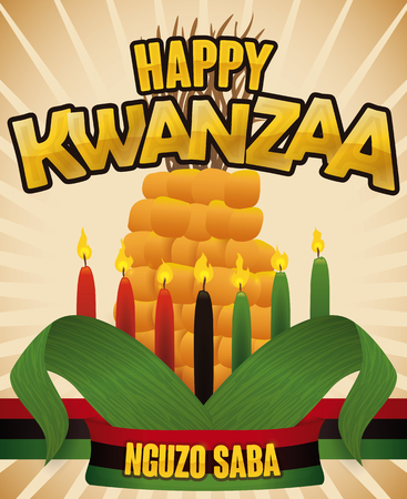 Poster with view of traditional elements to celebrate Kwanzaa and the Seven Principles of African Heritage (or Nguzo Saba): red, black and green flag, candles, lighted and corn.