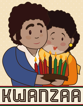 Poster with happy couple celebrating Kwanzaa holding a traditional candlelight with seven candles for the Principles of African Heritage.