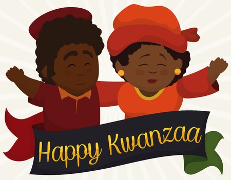 red skinned: Poster with happy dark-skinned couple hugging and greeting each other in Kwanzaa behind a ribbon with traditional colors of this holiday.