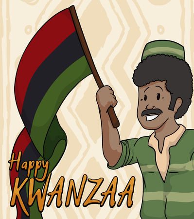 kwanzaa: Smiling dark skinned senior holding a traditional flag with Kwanzaa colors celebrating this holiday.