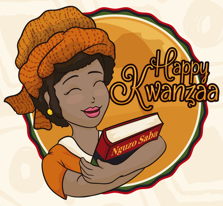 principles: Poster with beauty smiling dark skinned lady celebrating Kwanzaa holding a book with the Seven Principles of African Heritage (or Nguzo Saba).